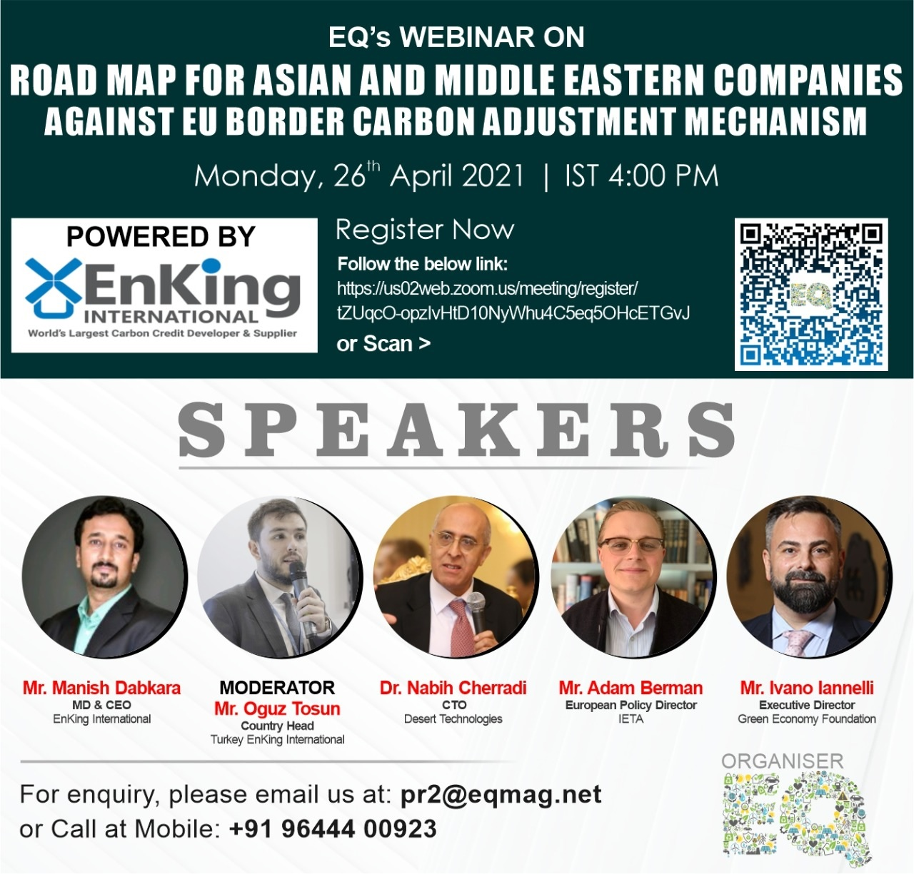 EQ Webinar on Roadmap for Asian and Middle Eastern Companies against EU Border Carbon Adjustment Mechanism on Monday April 26th from 04:00 PM Onwards….Register Now !!!
