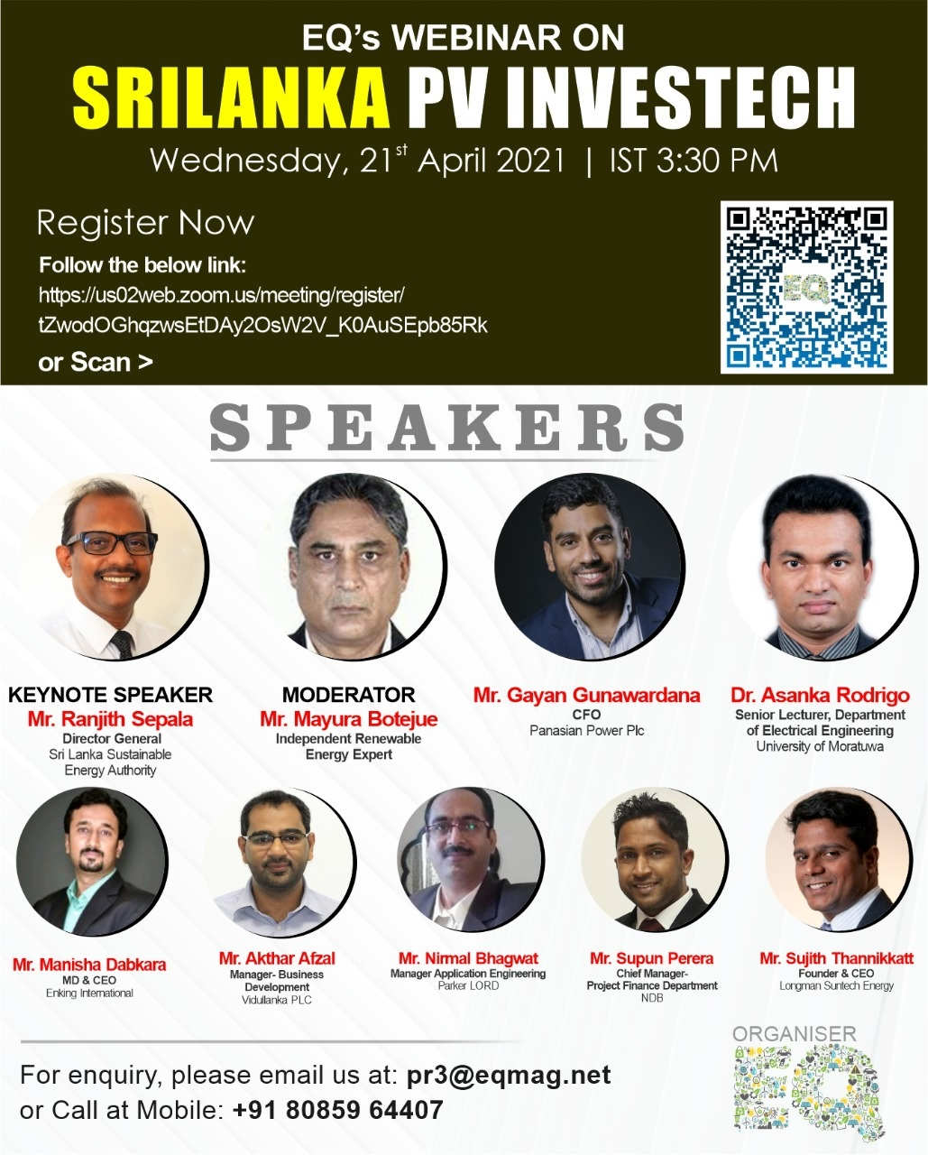EQ Sri Lanka PV InvesTech on Wednesday April 21st from 03:30 PM Onwards….Register Now !!!