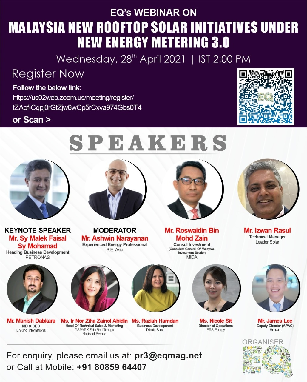 EQ Webinar on Malaysia New RoofTop Solar Initiatives under New Energy Metering 3.0 on Wednesday April 28th from 02:00 PM Onwards….Register Now !!!
