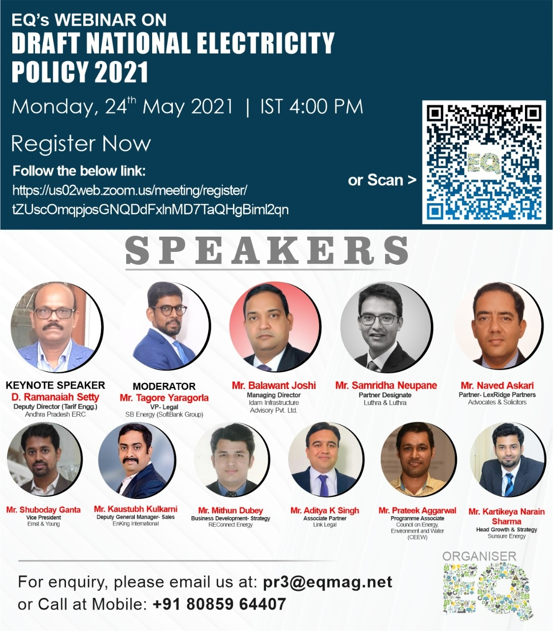 EQ Webinar on Draft National Electricity Policy Dated – 24 May 2021 (Monday) from 04:00 PM Onwards….Register Now !!!