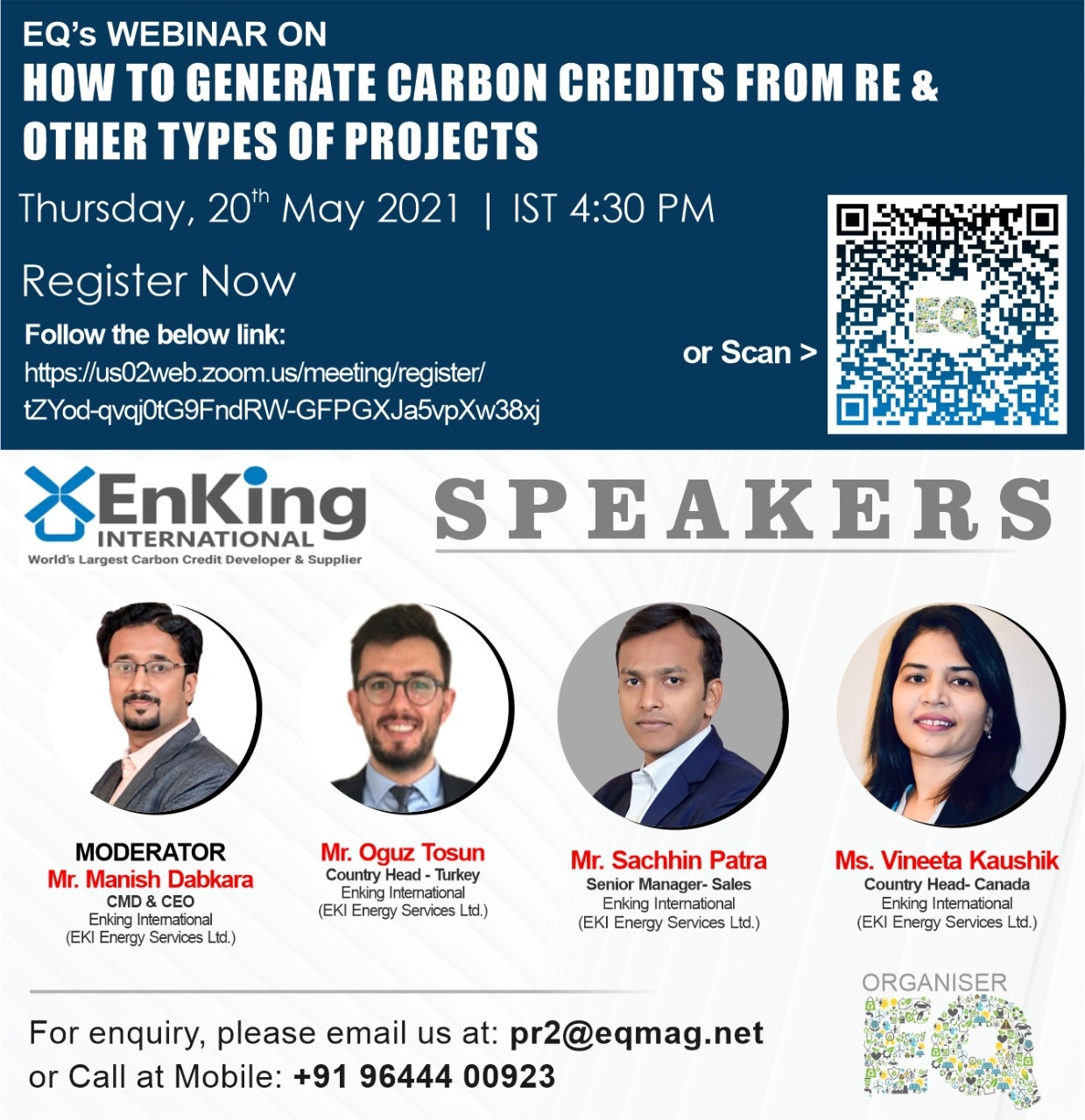 EQ Webinar on How to Generate Carbon Credits From RE & Other Types of Projects on Friday May 20th from 04:30 PM Onwards….Register Now !!!