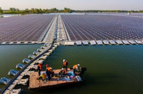 Aerial view of the floating solar energy farm transformed from the coal mining subsidence in Huaibei city, east China's Anhui province, 19 April 2018.