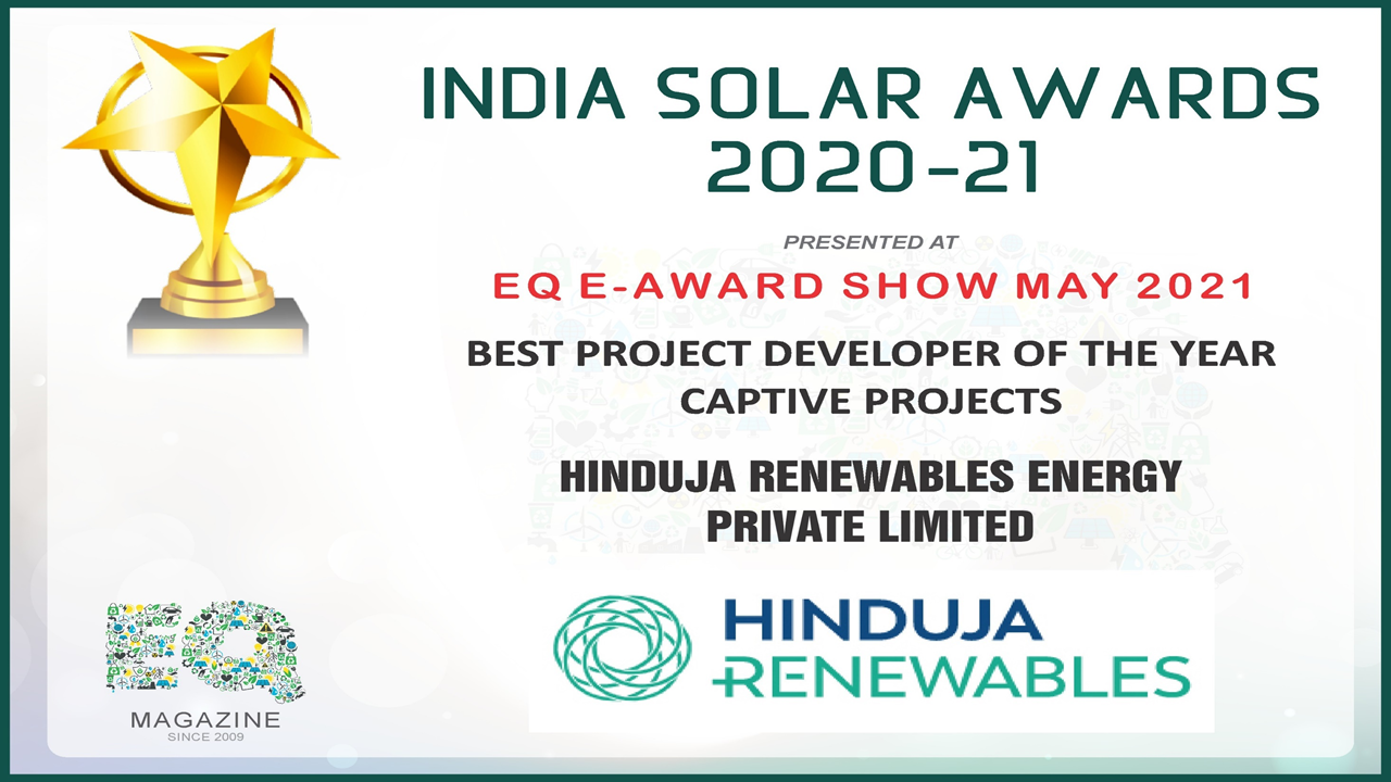Hinduja Renewable Wins 'Best Project Developer of the Year- Captive Projects'