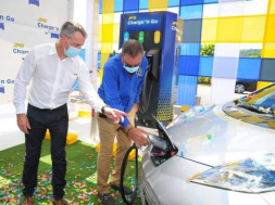 JPS opens first public electric vehicle charging station