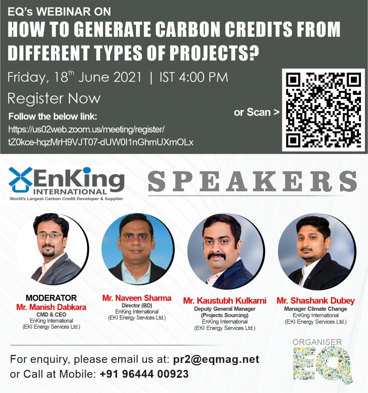 EQ Webinar on How To Generate Carbon Credits From Different Types of ProjectsDated – 18th June 2021 (Friday) from 04:00 PM Onwards….Register Now !!!