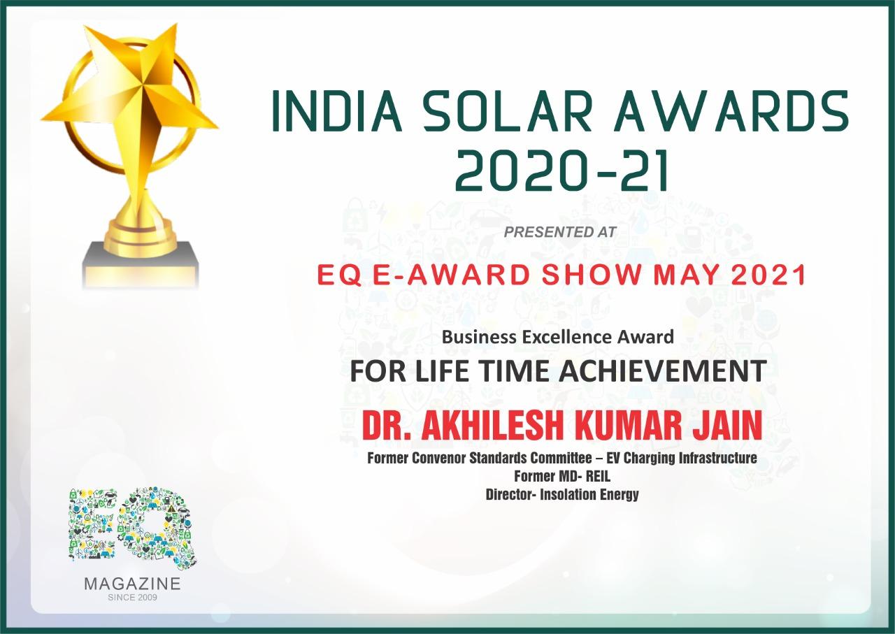 Dr AK Jain Wins Business Excellence Award for Lifetime Achievement