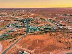 White Cliffs, opal mining town, Australia, aerial photography