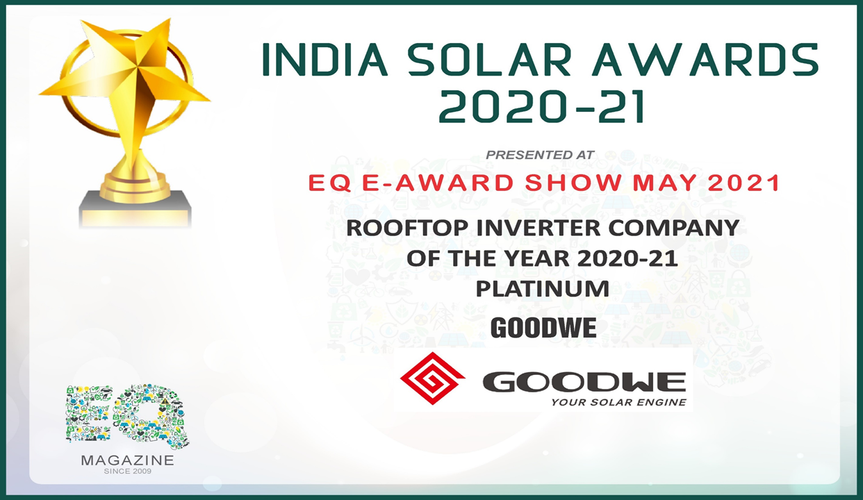 India Solar Award 2020-21: GoodWe Wins 'Rooftop Inverter Company of the Year 202-21 Platinum'