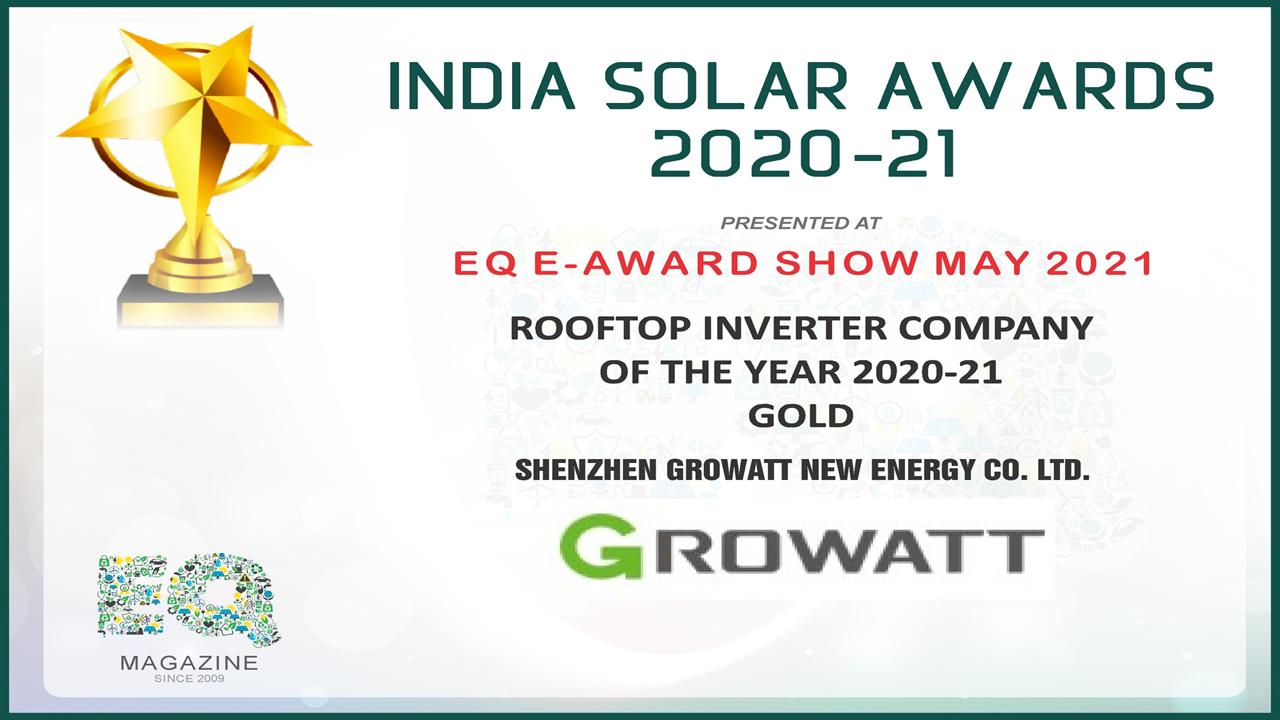 India Solar Awards 2020-21: 'Growatt wins Rooftop Inverter Company of the Year 2020-21'