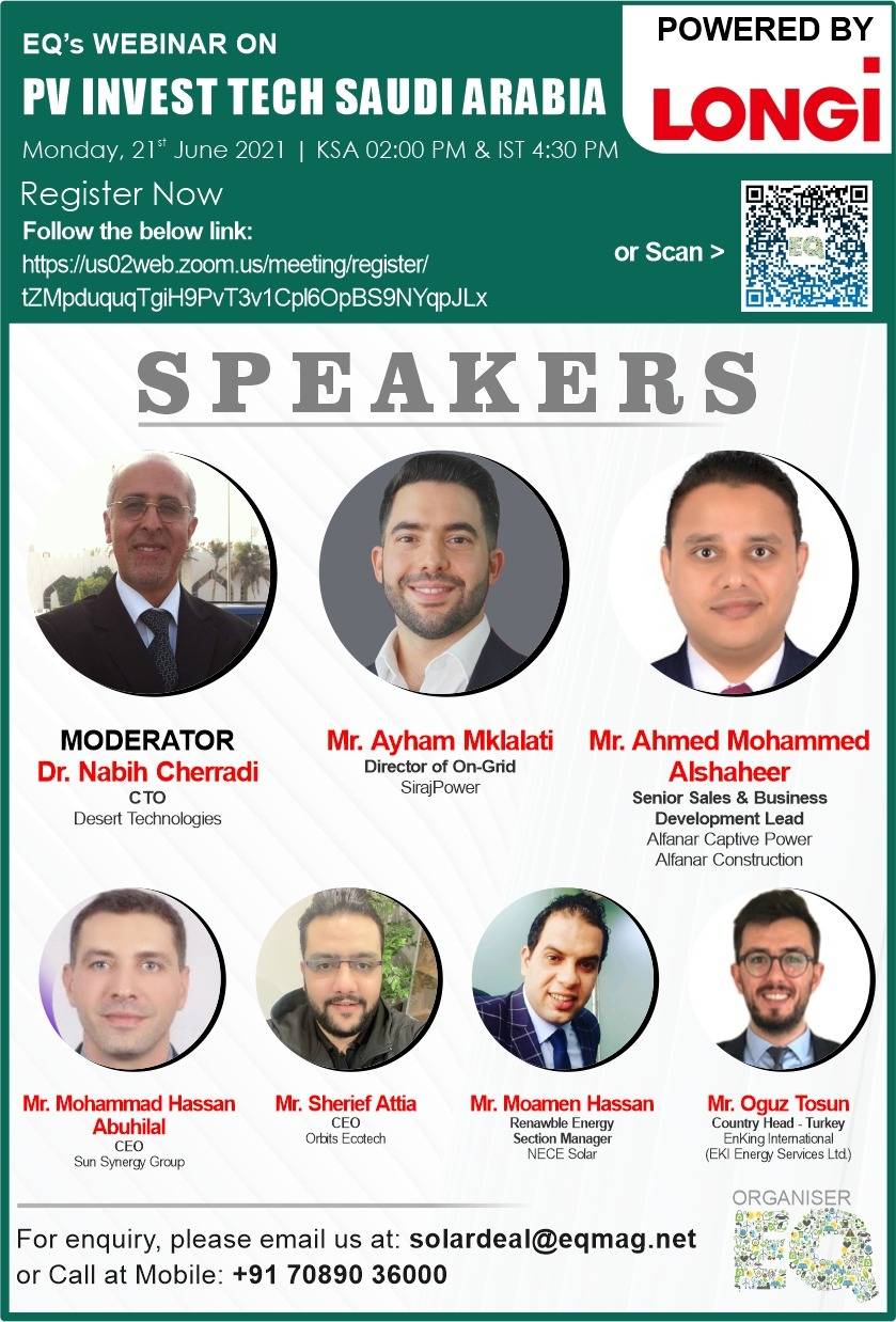 EQ Webinar on PV Invest Tech Saudi Arabia on Monday June 21st from 04:30 PM Onwards….Register Now !!!