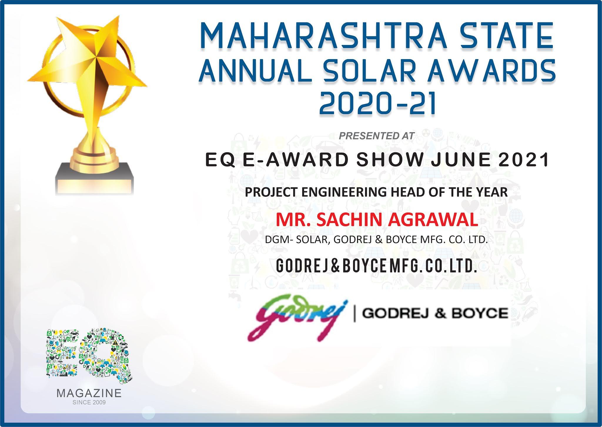 Sachin Agarwal Wins Solar Award-'Project Engineering Head of the Year'