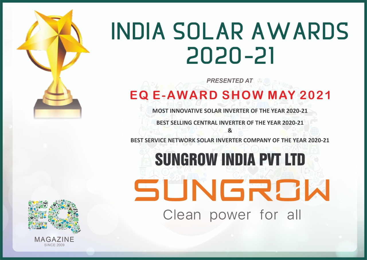 India Solar Awards 2020-21: Sungrow India Wins 3 Solar Inverter Awards