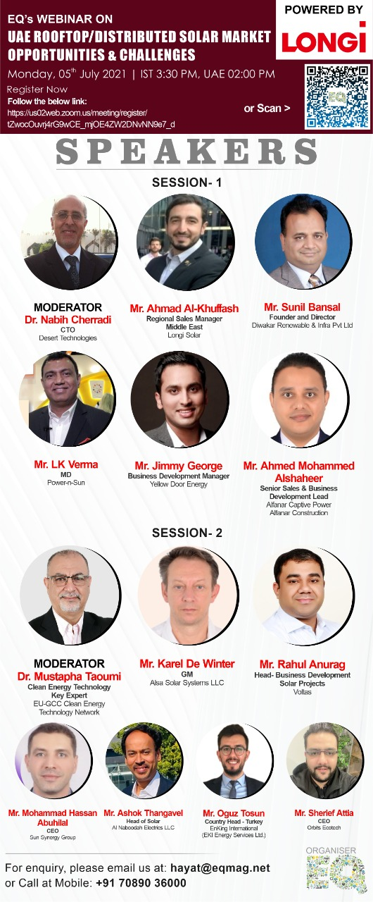 EQ Webinar on UAE RoofTop/Distributed Solar Market – Opportunities & Challenges on Monday July 5th from 03:30 PM Onwards…. Register Now !!!