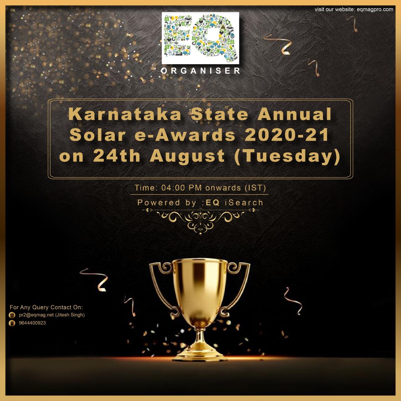 Karnataka State Annual Solar e-Awards 2020-21 Powered by EQ iSearch