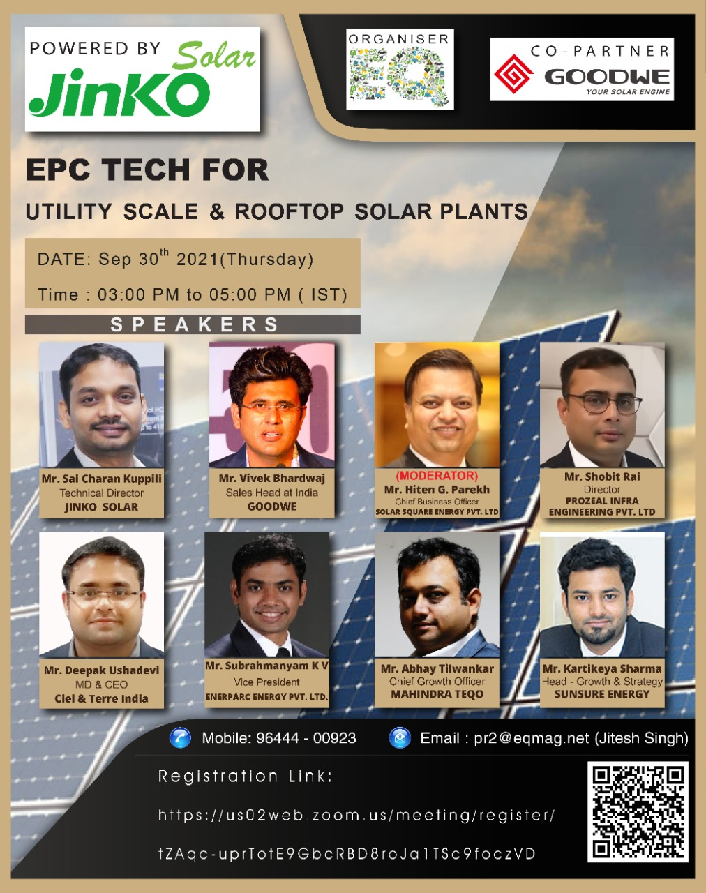 EQ Webinar on EPC Tech for Utility Scale & RoofTop Solar Plants Powered by Jinko Solar On Thursday September 30th From 3:00 PM Onwards…. Register Now !!!